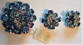 Vintage WEISS NOS BLUE BROOCH & EARRINGS TAG Attached RARE - $159.00