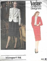 Vogue Blassport Misses Semi Fitted Jacket & Skirt Pattern 2643 Size 14 U... - $9.89