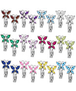 Birthstone Butterfly Gemstone Leverback Drop Earrings 14k Solid White Go... - £59.72 GBP