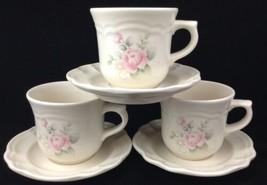 Vtg Pfaltzgraff Tea Rose Cups and Saucers 3 Sets Retired Unused Coffee Tea Cocoa - $29.64