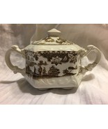 sugar bowl brown Seaforth Wood's Burslem England Ellgreave repaired handle - $19.79