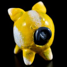 Handmade Oaxacan Copal Wood Carving Folk Art Yellow Pig Bobble Tail Figurine image 3