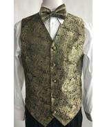 Men's Suit Tuxedo Dress Vest Necktie Bowtie Hanky Metallic Gold Paisley ... - $39.99