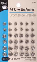 Dritz Sew-On Snaps 36/Pkg-Nickel-Plated Brass Sizes 1,2 & 4 - $7.33
