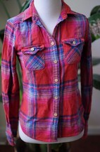 American Eagle Outfitters XS favorite fit Red multi-color Plaids Shirt - $17.09