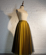 Black Yellow Tulle Maxi Skirt Outfit Plus Size Romantic Long Tutu Party Skirt  image 2