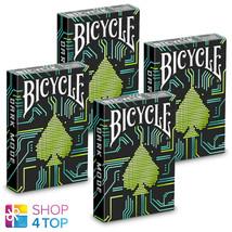 4 Dark Mode Bicycle Playing Cards Deck Magic Tricks Poker Games Black New - $34.15
