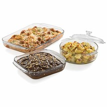 Libbey Baker's Basics 3-Piece Glass Casserole Baking Dish Set with 1 Cover - $38.61