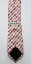 Geoffrey Beene Polyester Blend Orange Silver Checkered Print Men's Neck Tie image 2