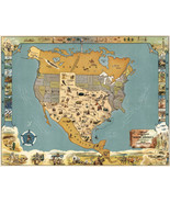 Pictorial Midcentury Official Texas Brags Map of North America Wall Post... - $12.87+