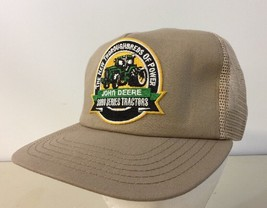 John Deere Tan Trucker Hat New Thoroughbreds 8000 SnapBack Made In USA - $19.79