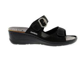 Sandalia plana MEPHISTO JULIA LIZ de cuero negro - Zapatos Mujer - $141.93