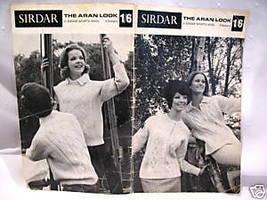 Vintage Sirdar Aran Knits Cardigan Sweater Knitting Patterns Family Sizes - $7.95