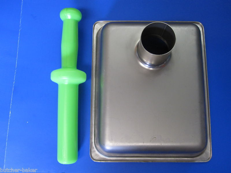 "Meat grinder tray pan and pusher stomper 2 3//16/"" drop tube."