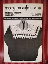 "Vintage Mary Maxim Knitting Patterns Cardigan Sweater Adults Sizes 38   44""  - $5.95"