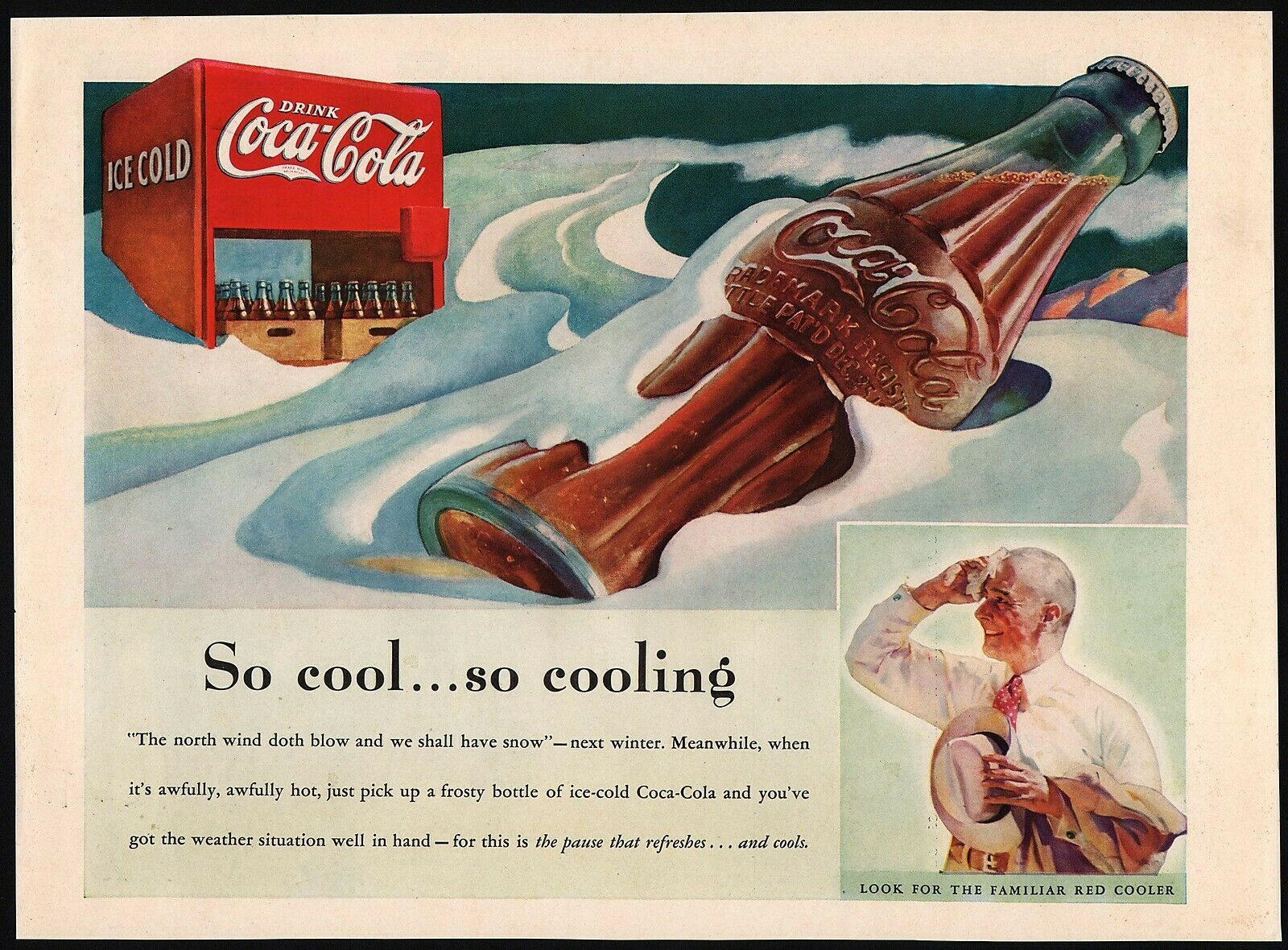 Primary image for Vintage magazine ad COCA COLA from 1937 So cool so cooling bottle and cooler pic