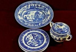 Blue Willow  Plates Johnson Brothers  Sugar Bowl Underglaze England Seven  - $89.10
