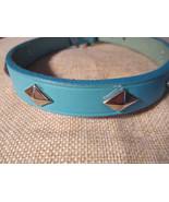 """real leather dog collar light blue / studded / made in USA 14"""" to 17"""" - $21.99"""