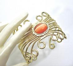 Lucite Moonglow Cuff Bracelet, Orange, Cat's Eye, Scrolled Wire Work, Eg... - $21.00