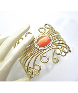 Lucite Moonglow Cuff Bracelet, Orange, Cat's Eye, Scrolled Wire Work, Eg... - $21.00