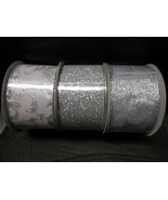 """Wired Glitter Ribbons Silver 2 1/2"""" X 10 Yds., Set Of 3 Different Patterns - $19.75"""