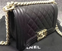 NEW 100% AUTHENTIC CHANEL 2017 BLACK QUILTED CAVIAR SMALL BOY FLAP BAG GHW image 3