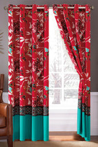 4-P Sachi Tree Branches Silhouette Leaves Birds Floral Curtain Set Turquoise Red - $35.89