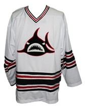 Custom Name # Los Angeles Sharks Hockey Jersey 1973 New White Any Size image 1