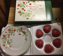 VTG 70s AVON Strawberry Porcelain 22K Gold Rimmed Collector's Plate/6 So... - $11.99