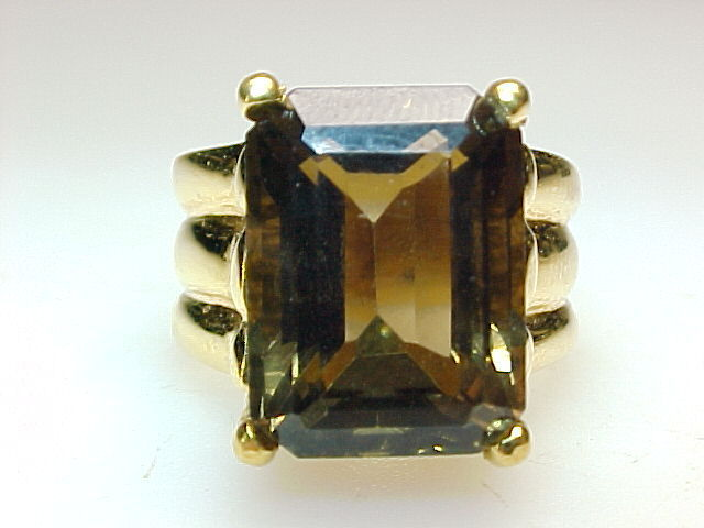 HUGE SMOKY TOPAZ RING in Gold Vermeil - Size 8 1/4 - GORGEOUS - FREE SHIPPING