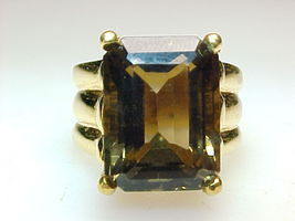 HUGE SMOKY TOPAZ RING in Gold Vermeil - Size 8 1/4 - GORGEOUS - FREE SHI... - $225.00
