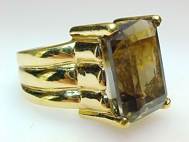 HUGE SMOKY TOPAZ RING in Gold Vermeil - Size 8 1/4 - GORGEOUS - FREE SHIPPING image 2