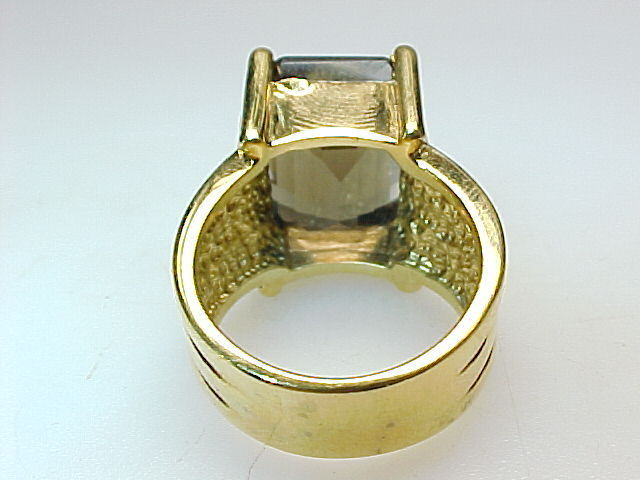 HUGE SMOKY TOPAZ RING in Gold Vermeil - Size 8 1/4 - GORGEOUS - FREE SHIPPING image 3