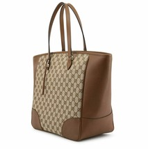 Gucci Authentic Women's GG Brown Leather Shoulder handbag Tote with dust... - $881.02