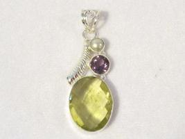 14.96 Ct Genuine Lemon Topaz,Amethyst & Pearl 925 sterling silver pendant - $30.00