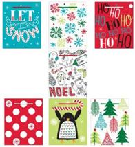 Christmas Bags with Tissue Paper, 7 Styles Paper Kraft Bags Party Suppli... - $10.84