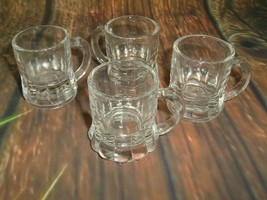 Federal Glass Mini Beer Mug Clear Shot Glasses w/ F Shield Mark set of 4 VTG - $14.84