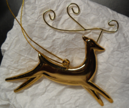 Stylized Gold Colored Metal Reindeer Christmas Ornament Ashley Avery's Box - $12.99