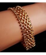 "Elegant KJL Bracelet Signed rhinestone jewelry - 7 1/2"" - Vintage gold l... - $85.00"