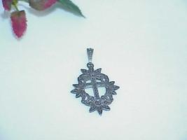 Antique Art Deco Sterling Silver Marcasite Cross Ornate Pendant Vintage ... - $49.49
