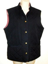 Talbots Vest Reversible Quilted M 8 10 Navy Blue Red Snap Medium Womens - $17.99