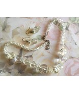 Vintage Clear Acrylic Chunky Beaded Necklace and Earring Set, 18in SP Chain - $15.00