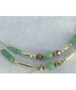 Green Adventurine & Silver Necklace Double Stra... - $27.00