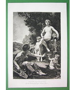 NUDE Mythology Poet Inspired by Nymph at Water Source - Victorian Era Print - $9.45