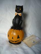 Bethany Lowe Black Cat Halloween Kitty on a Jack O Lantern Pumpkin image 2
