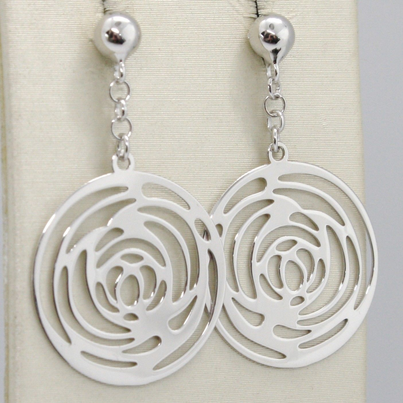 SOLID 18K WHITE GOLD PENDANT EARRINGS, FLOWER ROSE WORKED DISC, MADE IN ITALY