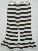Blanks Boutique Girls Brown White Stripe Ruffle Pants Size 2T image 2