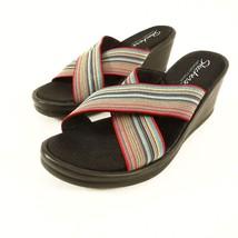 Skechers Memory Foam Wedge Sandals Slides Womens 9 M Black Multi-Color S... - £23.13 GBP