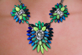 Fashion Jewelry Sets Emerald Green Mutli Blue Faceted Stone Necklace Earrings - $49.99
