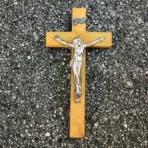 Vintage Small Wood Cross with Plastic Metal Jesus Nailed to It Crucifix ... - $10.64